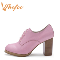 Shofoo Women Sweet Pink Grain Leather Chunky High Heels Round Toe Dress&Office&Career&Party Lace up Shoes ,Large Size 4 16.