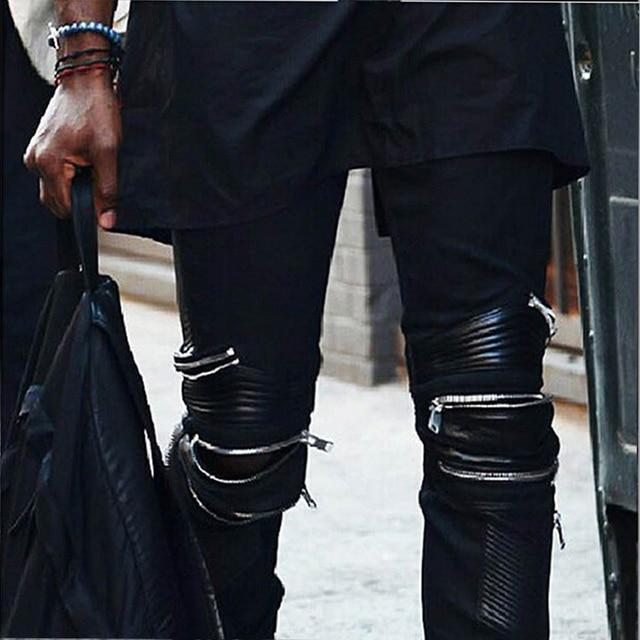 7 SIZE Plus Size Funky Japan Punk Men's Casual Slim Fit Skinny PU Faux Leather Zipper HIP HOP Joggers Costume Clubwear Trousers 6