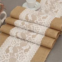 30x275cm hessian burlap table runner for wedding decoration rustic jute lace wedding table runner party event supplies