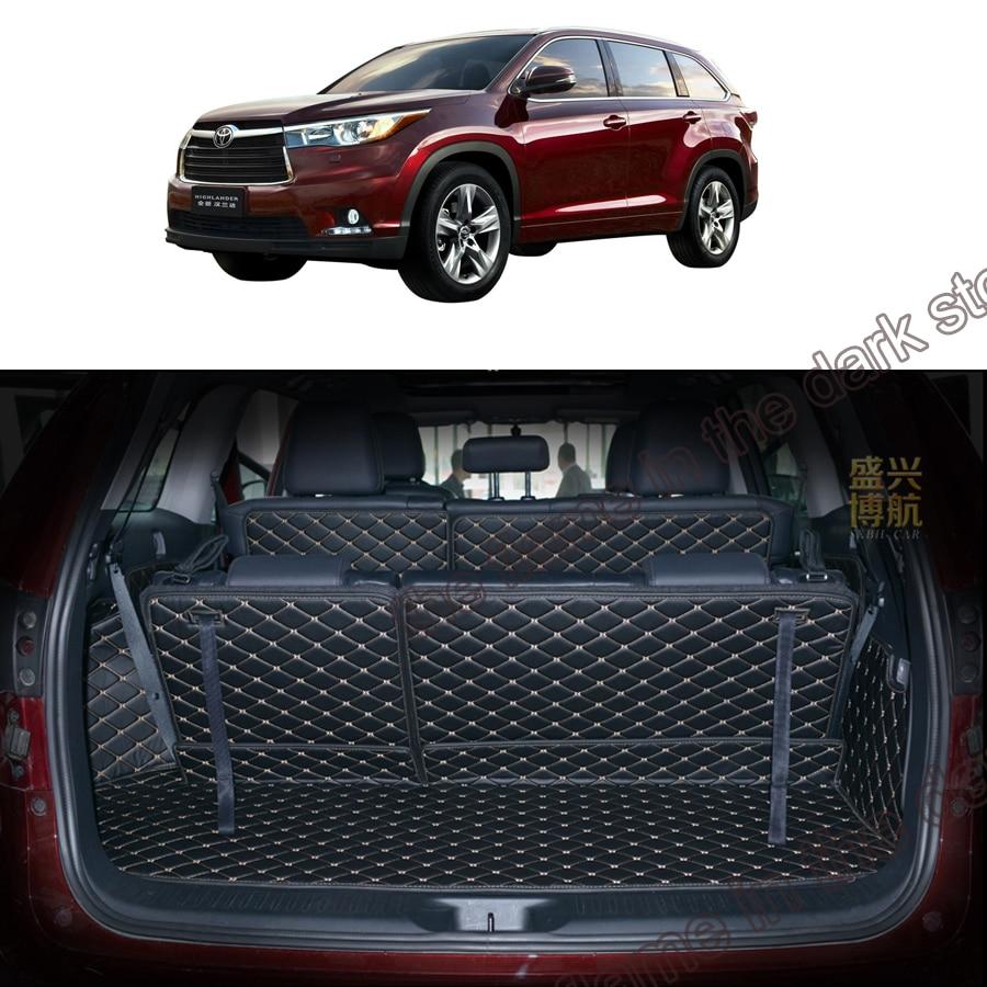 Custom fit pu leather car trunk mat cargo mat for toyota highlander 3rd generation xu50 2013