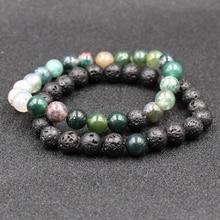 HOBBORN Trendy Natural Stone Couple Bracelet 8mm Lava Tiger Eye Map Beads Handmade Healing Reiki Prayer Yoga Bracelets Set