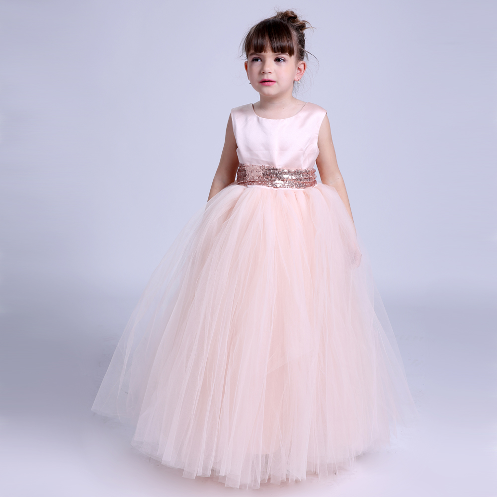 cc3d30aadad8d Kids Girls Wedding Flower Girl Dress Princess Party Pageant Formal Dresses  Peach Sleeveless Long Tutu Dress Gown For Girls 1-14Y
