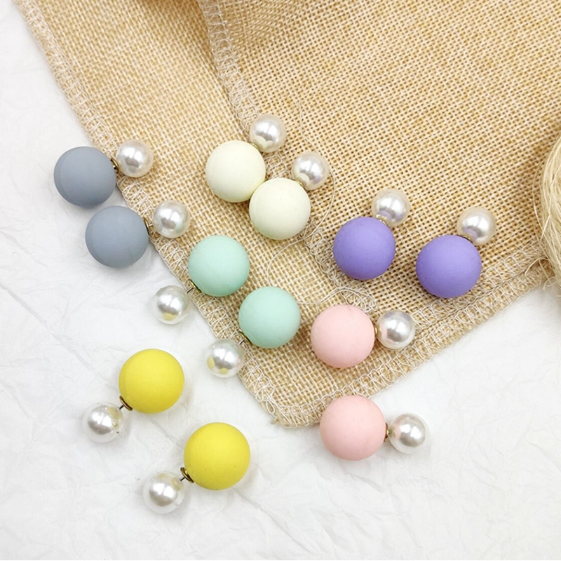 Colorful Simulated Stud Earrings For Women Jewelry Double Sides Ball Bead Pendientes Female Korean Yellow Pink Earrings 2019(China)