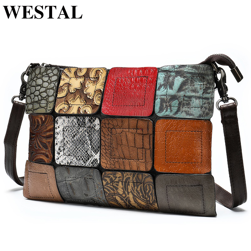 WESTAL Bags For Women Bag Ladies Genuine Leather Patchwork Women's Shoulder Bags Female Crossbody Bag Designer Handbag For Girl