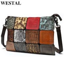 WESTAL 女性のためのバッグレディース本革パッチワークの女性のショルダーバッグバッグ女性のクロスボディバッグデザイナー少女