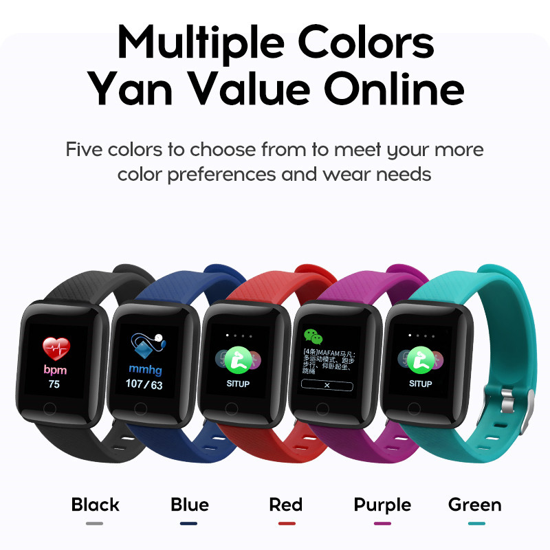 116 Plus Smart Watch Sports Fitness Activity Heart Rate Tracker Blood Pressure  Call Message Reminder Android Band Phone xanes a6s