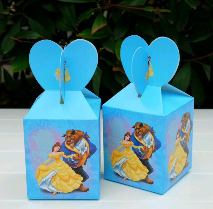 6pcs/lot Beauty And The Beast Theme Cartoon Paper Bags Baby Shower Souvenirs Gift Candy Boxs Birthday Party Decorations