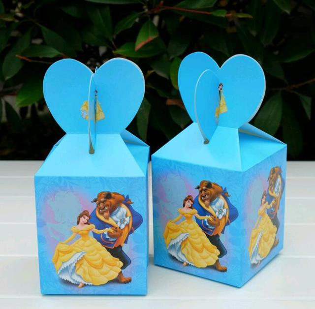 6 יח'\חבילה יופי והחיה נושא קריקטורה נייר שקיות תינוק מקלחת מזכרות מתנה סוכריות boxs מסיבת יום הולדת קישוטים