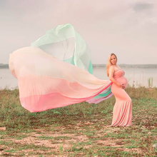 DJ 2019 New Maternity Photography Long Chiffon Cloak Cape with Matched Dress Fitted Pregnancy Maternity Gown Clothes Vestidos