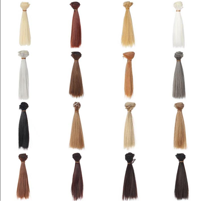10PCS/LOT Wholesale 10*15CM High-temperature Wire Straight Synthetic Doll Hair <font><b>1/3</b></font> <font><b>BJD</b></font> <font><b>Wig</b></font> <font><b>Brown</b></font> Black image