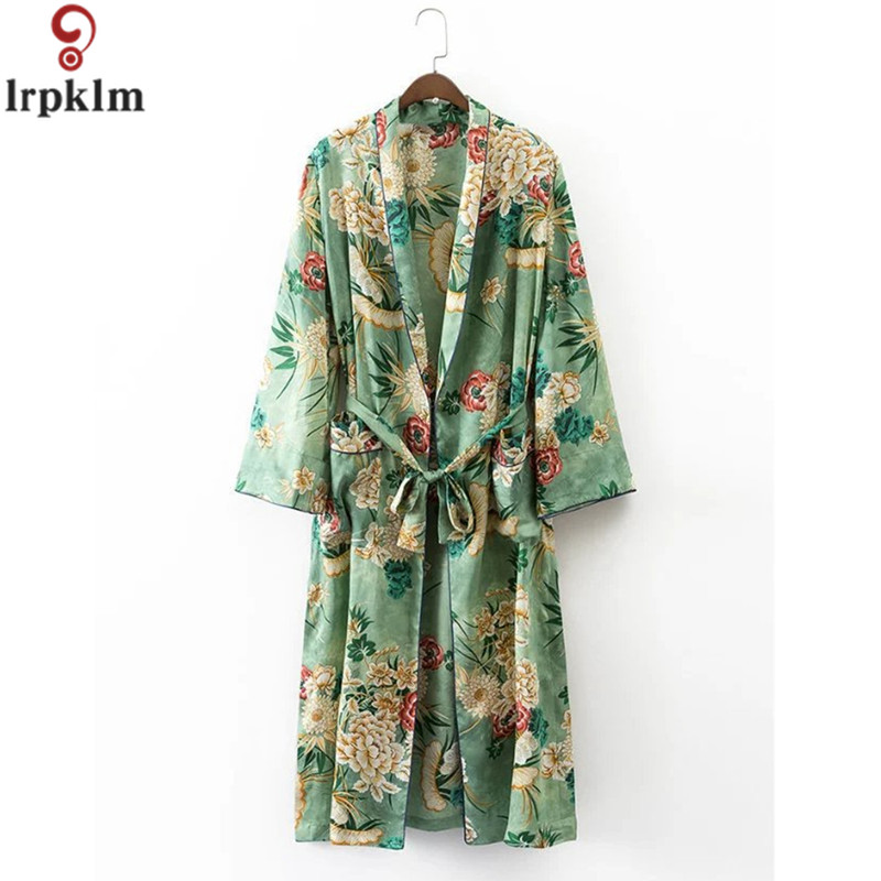 Nightgown For Women Floral Print Robes Spring And Autumn Comfortable Women Sleep Robe Long Sleeves Sleep Long Coat SY462