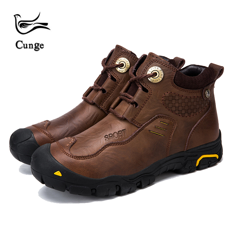cunge new Handmade leather shoes Mens Army Boots Genuine Leather Waterproof warm Cowhide Shoes Combat winter