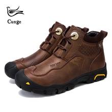 Cunge новая кожаная обувь ручной работы мужские армейские ботинки натуральная кожа непромокаемая теплая обувь из воловьей кожи армейские зимние тактические ботильоны