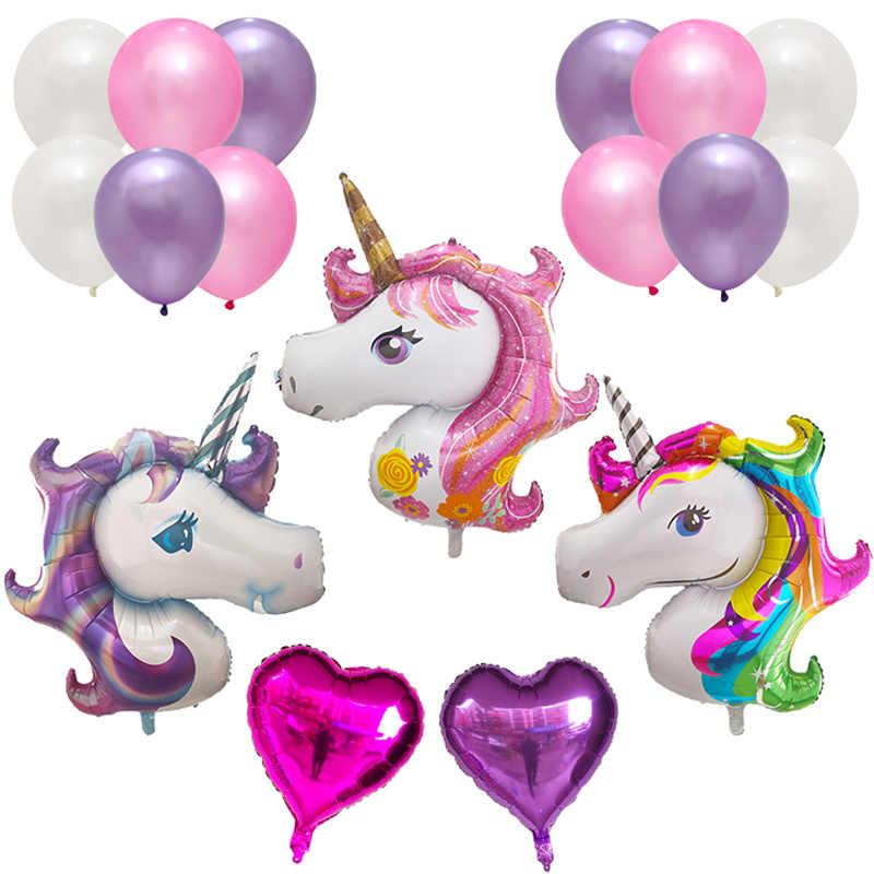 Фото Большой единорог лошадь фольга шары День рождения украшения сердце гелий