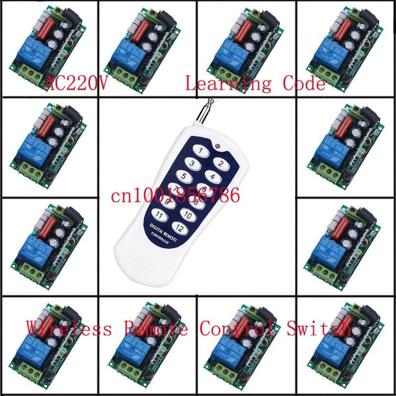 12CH système de commutateur de télécommande sans fil chaque CH est indépendant 10A code d'apprentissage bascule/LED momentané sur interrupteur sans fil
