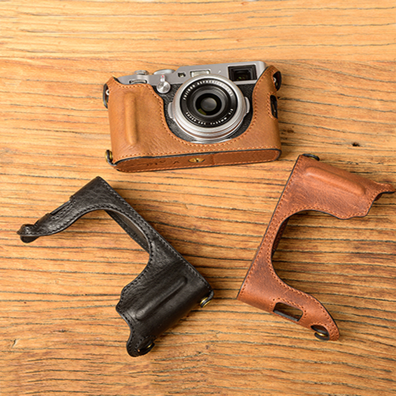 цены [VR] Genuine Leather Camera Case Camera Half Bag Handmade Cover Open battery design For FujiFilm X100F Fuji x100f  X100-F