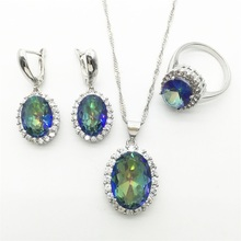 Silver Necklace Pendant Earrings Ring Size 6/7/8/9/10 Clear Rainbow  Zircon Rhinestone Jewelry Sets For Women Free shipping