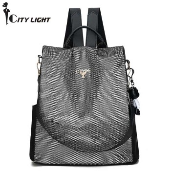Quality Nylon Anti-thief Women Backpack Large Capacity Sequin School Bag for Teenager girls Female Multifunction Travel Bags
