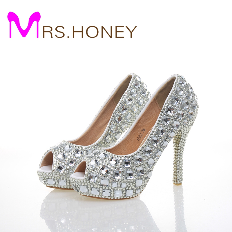 Free Shipping Peep Toe Crystal High Heel Wedding Shoes Silver Bridal Dress Shoes Woman Nightclub Party Banquet Dress Women Shoes winner skeleton mechanical watch luxury men black waterproof fashion casual military brand sports watches relogios masculino