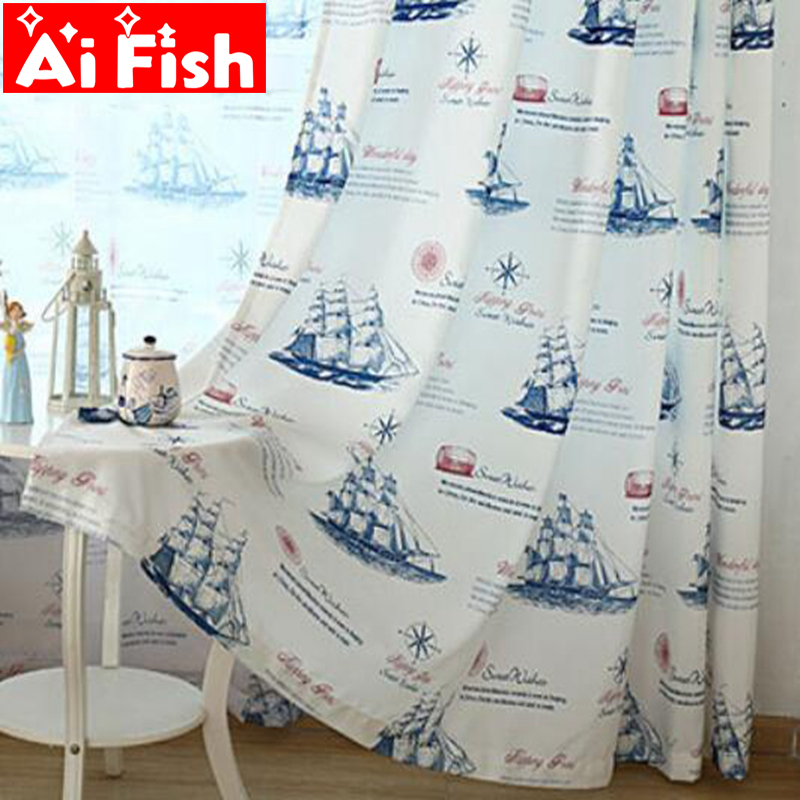 New Arrival Cartoon Curtain For Kitchen Living Room Print Sailing Ship Design On The Sea Design Fabric For Kids Room Ap354#30