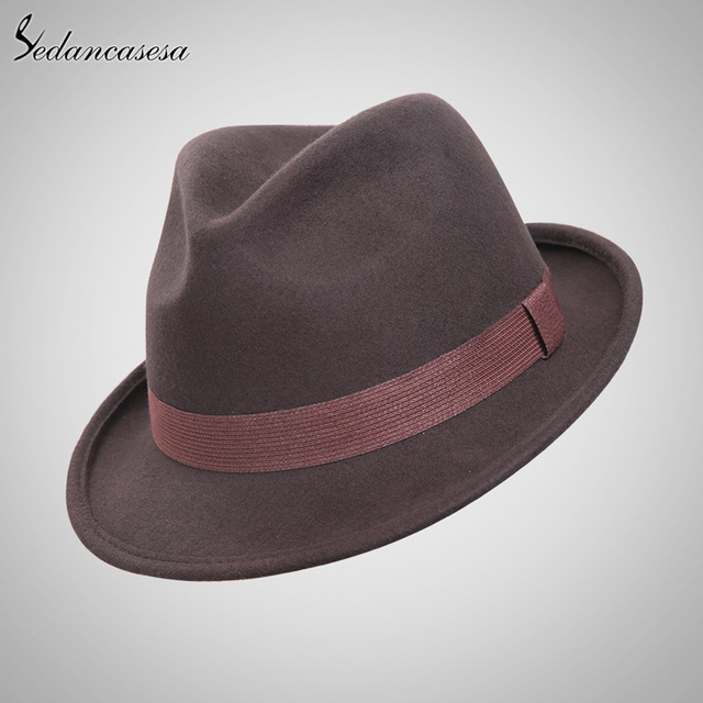 5977604b051 Sedancasesa New England Style Christmas Fedora Jazz Hat Men Women 100% Wool  Female Male Trilby Cap Hats with ribbon FM026081
