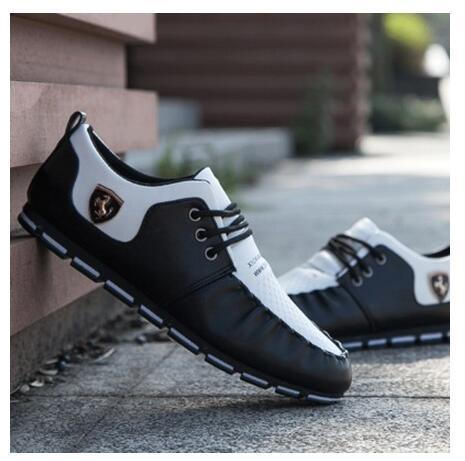 Men Leather Shoes With Ferrari Emblem