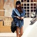 Новое Прибытие Уличная Прохладный Моды Женщин Дамы Ветер Denim Плащ С Капюшоном Верхняя Одежда Жан Синий Черный Свободные Пальто MZ808