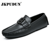 JKPUDUN Black Casual Driving Shoes Genuine Leather Loafers Men Shoes 2017 Mens Loafers Luxury Brand Formal Shoes Men Chaussure