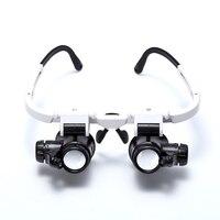 MYLB-8x 23x Dupla Olho 15x Lupa Cabeça Vestindo Reparação Relógio Joalheiro Lupa Lupa Iluminado com Luz LED