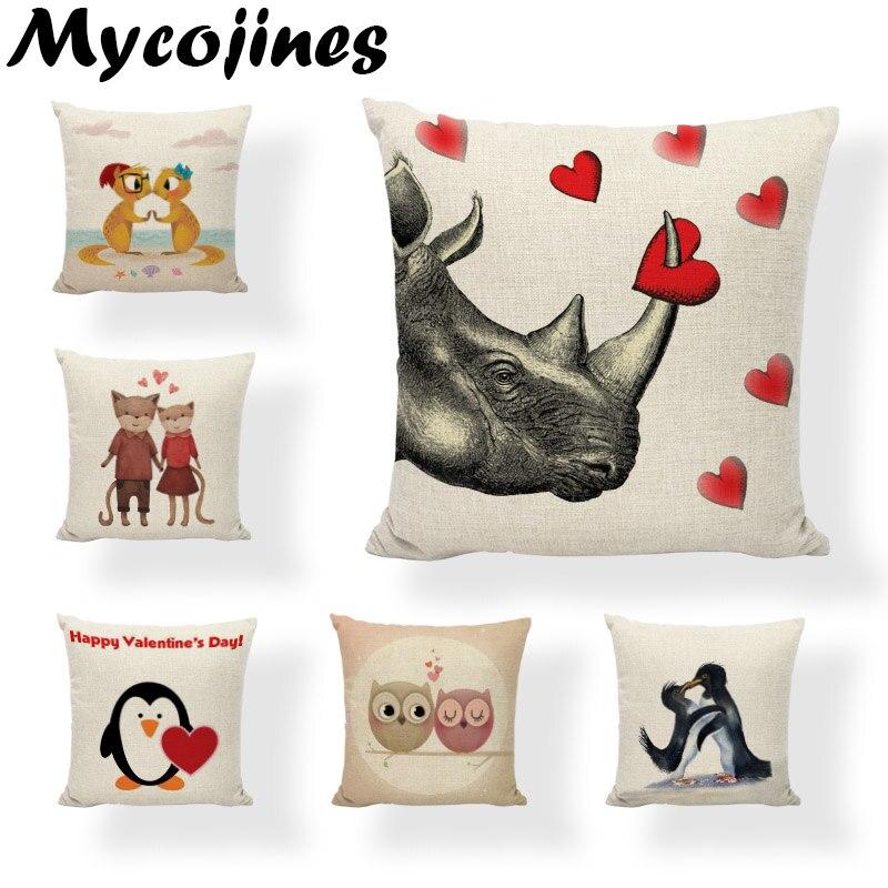 Animals Love Cushion Cover Dear Owl Sheet Fox Pillowcase Good Feeling Moonlight Pets Pillow Cover Home Decoration Accessories