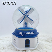 Windmill Crystal Ball Luminous Music Box Romantic Gifts, Rotation Crystal Ball Gift Hand Cranked Vintaeg Music Box Free Shipping