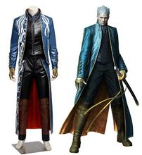 Devil May Cry 4 Dante Vergil cosplay costume Adult Fantasia Halloween Costume for men Leather jacket