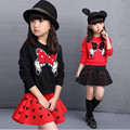 2016 latest spring and autumn piece fitted girls, cartoon bow embroidered sweater hollow horn + skirt suit 3-8 year-old girl