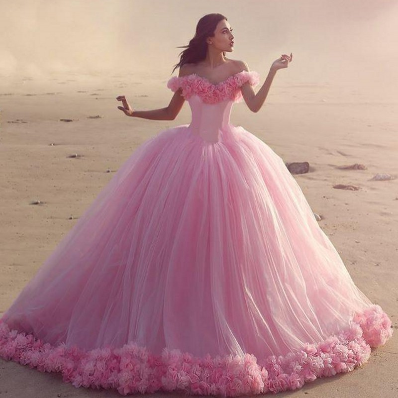 2019 vestido de noiva Pink Long Bridal Gowns Lace Up Wedding Gowns Tulle Custom Made Bridal Dresses Fashionable Off Shoulder