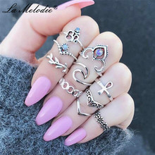 New Bohemia Wedding Ring For Women Jewelry Purple Blue Crystal Love Ring Crosses Rings Set for Girl Knuckle Rings Set 10PCS new 13pcs set bohemia retro metal purple crystal knuckle midi fingers rings set for women geometric vintage rings sets jewelry