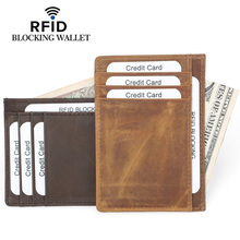 REID Super Thin Men Card Wallet 100% Cow Genuine Leather Holder Purses Coin Man Case High Quality