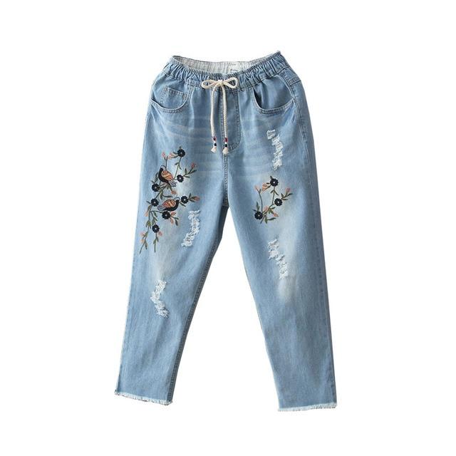 del ocasional Aliexpress Mujeres monikubu moda vintage de bordado denim Las grande jeans de ropa talla ZZvHqUYRxw