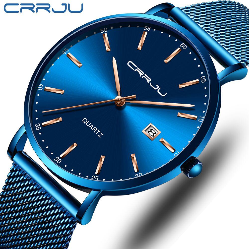 2019 New CRRJU Blue Casual Mesh Belt Fashion Quartz Watch Rose Hands Men Watch Top Brand Luxury Waterproof Relogio Masculino
