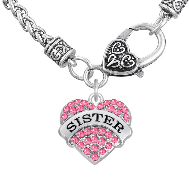 Aliexpress buy my shape pink stone heart charm saying sister my shape pink stone heart charm saying sister pendant necklace jewelry for family or friend teen mozeypictures Image collections