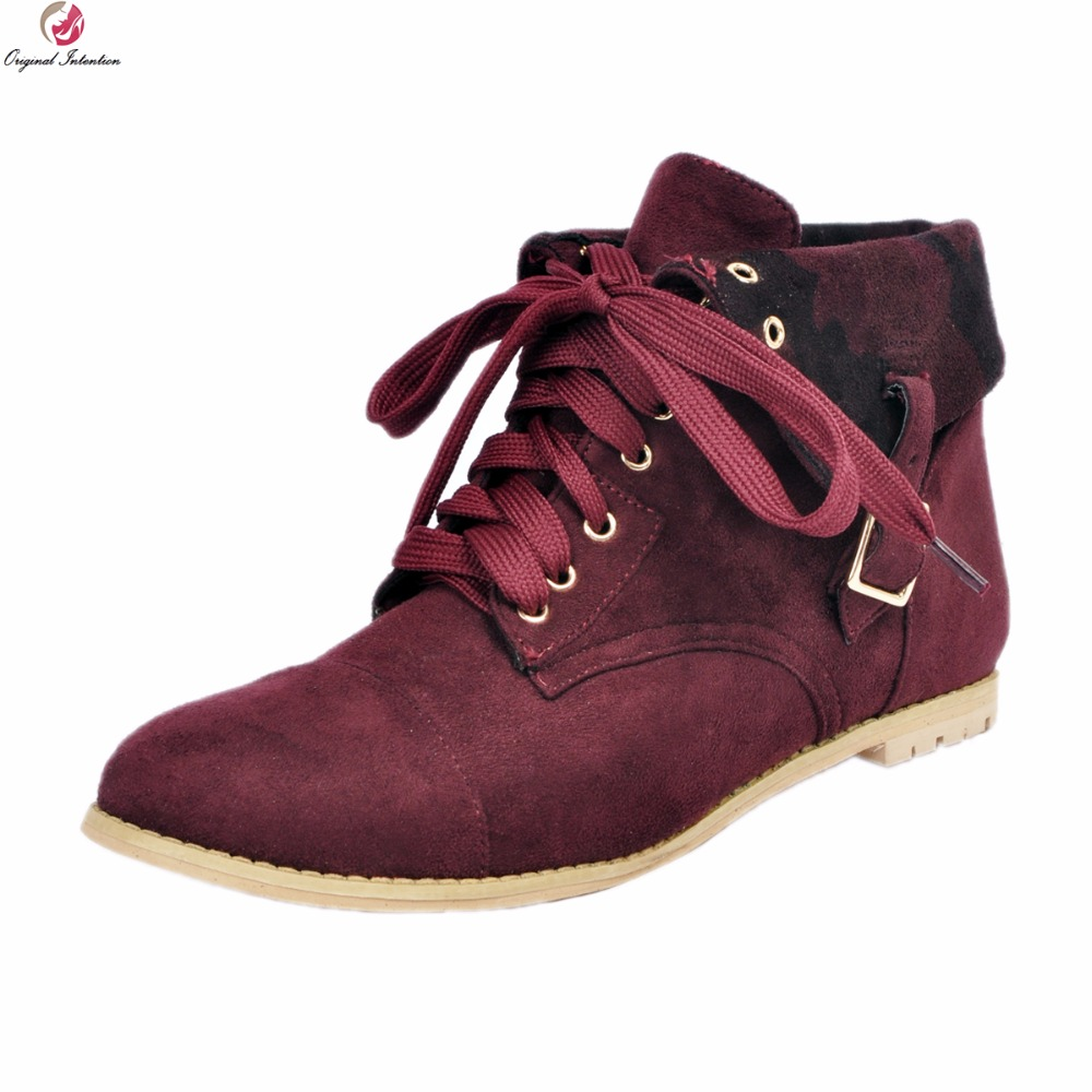 Original Intention Women New Cool Ankle Boots Popular Round Toe Square Heels Boots Elegant Wine Red