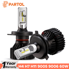 Partol T8 H4 Hi-Lo Beam H7 H11 9005 9006 Car LED Headlight Bulbs 60W 8000LM CSP Chips Automible Headlamp Front Lights 6500K 12V