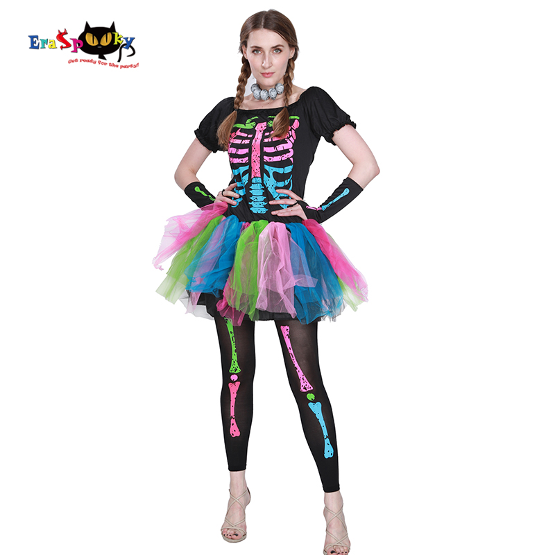 Eraspooky halloween costumes for Women cosplay Funky Punky Bones Costume Skull Skeleton Halloween Costume Dress And Leggings Set