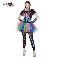 Eraspooky halloween costumes for Women cosplay Funky Punky Bones Costume Skull Skeleton Halloween Dress And Leggings Set