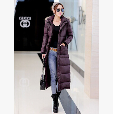 Online Shop Thick knee length down jacket coat Women yards longer ...