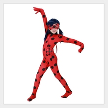 купить Halloween Christmas carnaval kigurumi cosplay costume for kids Ladybug Suit Girls Marinette Ladybug tight jumpsuits по цене 848.66 рублей