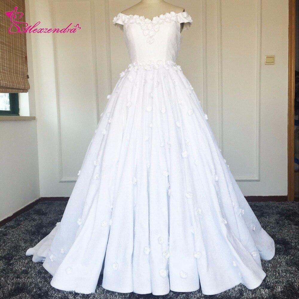 New arrival lace wedding dresses muslim arabic style off for Vintage off the shoulder wedding dresses