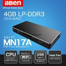 Bben Windows 10 stick mini pc 4 грамма + 32 gemmc + SSD 64 г/128 г/256 г вариант Intel Apollo Lake N3450 CPU HDMI WIFI Bluetooth4.0 компьютер