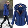 2016 Soft Overcoat Blue Topcoat Hooded Jacket Pocket  Zipper Stand Collar Outerwear Thick Villus Quilting Lattice Cotton Coat