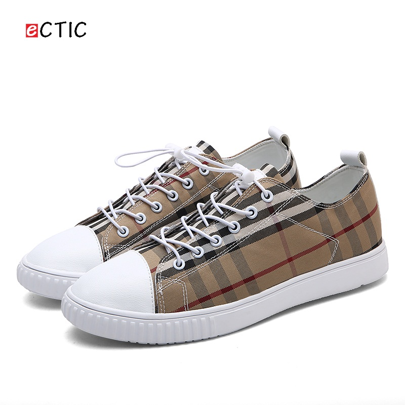 ФОТО 2017 New Brand Mens Casual Shoes Low Top Canvas Shoes Flats Man Canvas Shoes Male Footwear Plaid Pattern Shoes