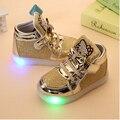 Малыша Обувь для Девочек Детская Мода Крюк Петля Светодиодные Обувь Дети Свет Светящиеся Кроссовки Малыш Обувь Со Светом